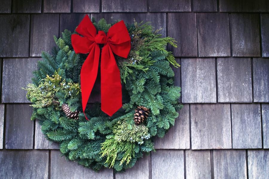 Décoration, ruban, Noël, bois, textures, couleurs, pinecone, mur