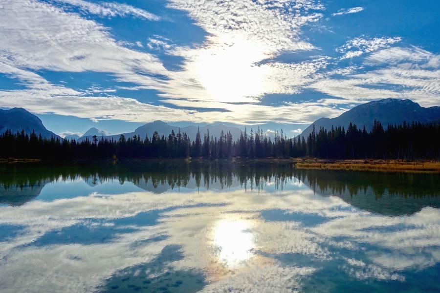 šuma, nebo, voda, jezero, četinjača, planine, priroda