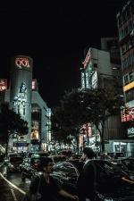 city, light, people, buildings, cars, streets, transportation