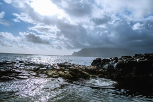 mountain, sea, stones, rocks, sky, water, coast