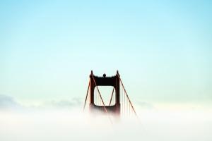 Arch, híd, köd, ég, szerkezet, pillér