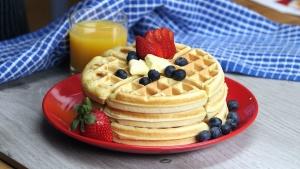 aardbei, bosbes, taarten, lekker, eten, sinaasappelsap, glas, tabel, Ontbijt