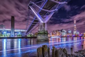 building, river, bridge, architecture, downtown, pillar