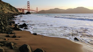 wave, sand, coast, rocks, bridge, landmark, mountain