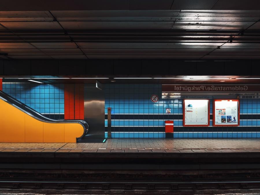 地铁, 火车站, 铁路, 楼梯, 墙, 瓷砖