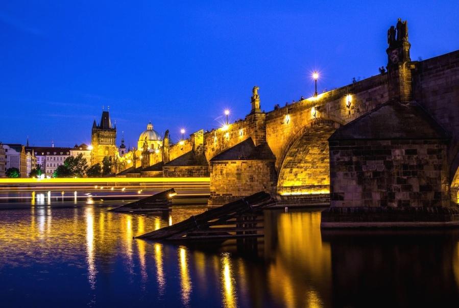 мост, река, осветление, архитектура, строителство, транспорт