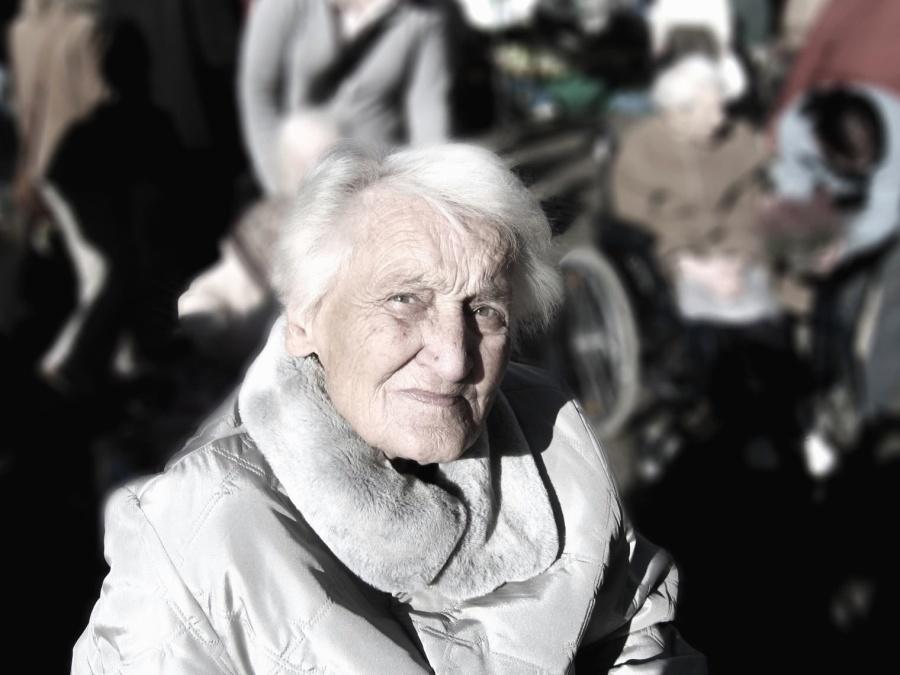 Femme, grand-mère, portrait, rides, visage