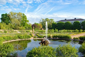 fountain, lake, garden, nature, plants, sky, architecture