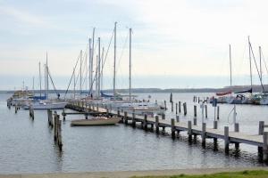 Puerto, barco, mar, madera, puente
