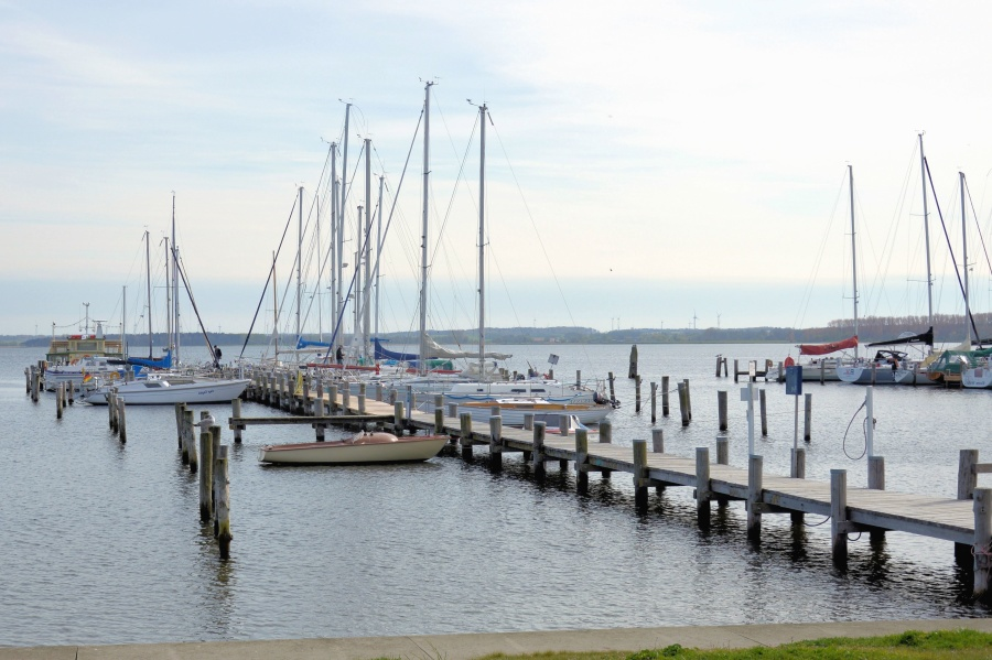 порт, кораб, море, дърво, мост