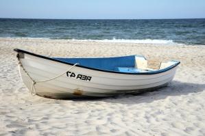 båd, sand, hav, vand