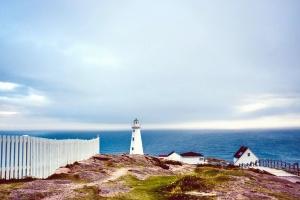 svjetionik, more, planine, kuće, obale, arhitektura