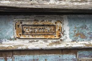 Antike, historische, metall, gebäude, wand, inschrift