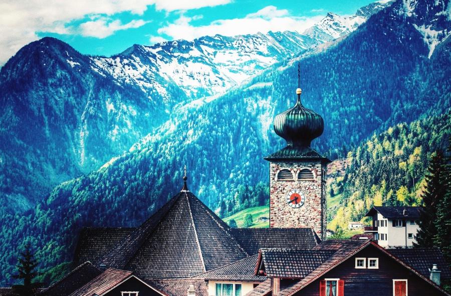 vesnice, hory, krajina, věž, kostel