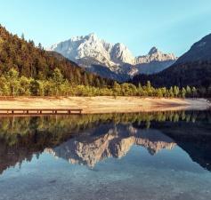 Montagne, ciel, lac, ciel, paysage, forêt
