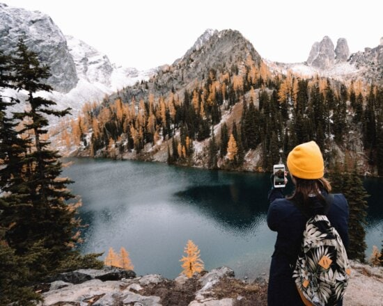 mountain, river, girl, bag, phone, forest, conifer