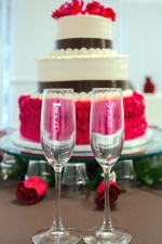 glass, cake, wedding, decoration, flowers, celebration