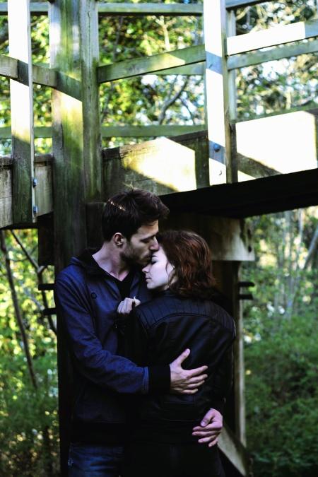 man, woman, love, hug, bridge