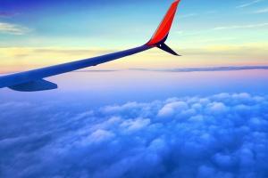 Ciel, nuage, avion, aile, transport, voyage