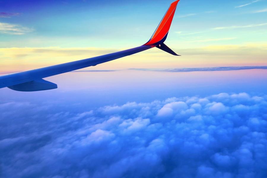 Cielo, nube, aeroplano, ala, transporte, viaje