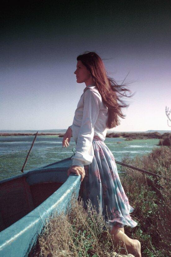 sea, coast, boat, girl, wind