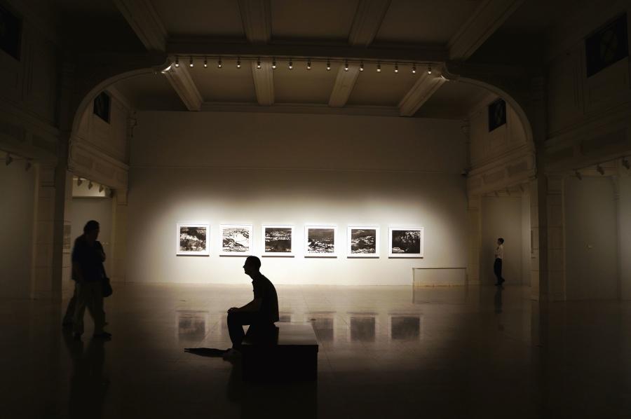 gallery, man, image, light, interior, exhibition