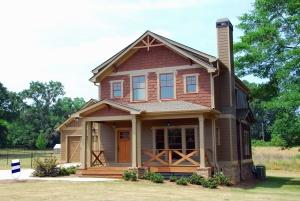 Maison, arbre, cheminée, brique, fenêtre, porte, architecture