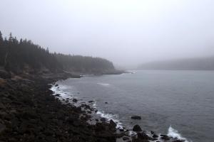 landscape, coast, fog, ocean, water, rocks