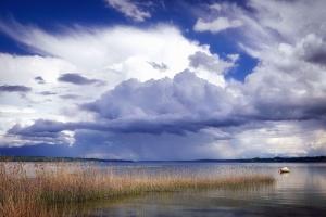 Pantano, lago, agua, hierba, naturaleza, barco, nube, cielo