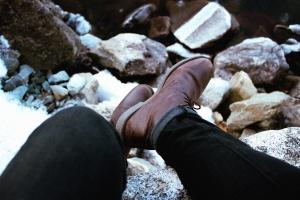 shoe, pants, stone
