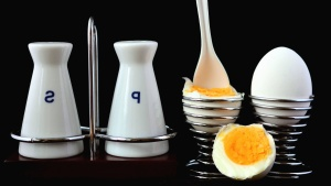 egg, chicken, food, table, spoon, boiled