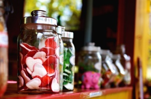 jar, candy, glass, shelf, heart