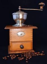Retro, mühle, kaffee, holz, mechanisch, manuell