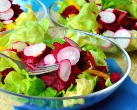 radish, lettuce, fork, plate, vegetarian, food, delicious