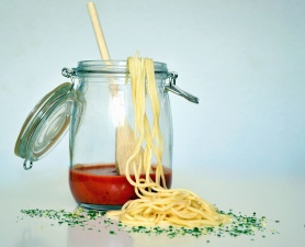 glass, spoon, pasta, sauce, jar, spaghetti