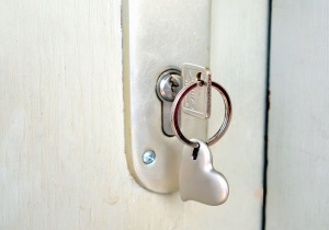 key, lock, door handle, heart, metal, ring