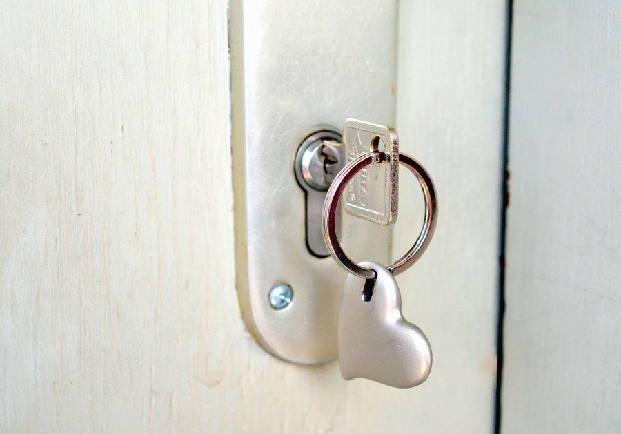Free picture: key, lock, door handle, heart, metal, ring