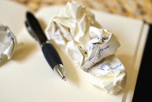 pen, paper, wrinkled, writing