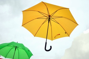 umbrella, sky, rain, colorful