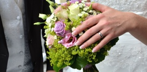 wedding, wedding ring, flower, bouquet, hand