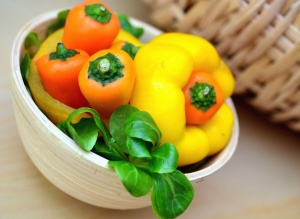 bell pepper, bowl, ceramics, salad, food