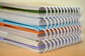 Katalog, papier, spirala, stronę, prezentacja