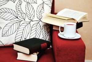 cup, tea, book, chair, learning, study