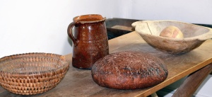 table, ceramics, pottery, bread, cereals