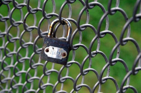 corrosion, padlock, locked, wire, metal