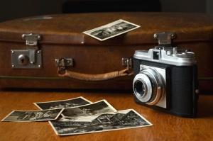 photo camera, retro, suitcase, photos