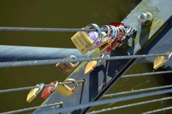 padlock, fence, bridge, metal, cord