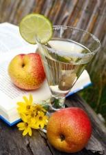 drink, fruit juice, apple, sugar, book