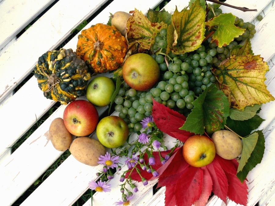 burgonya, tök, alma, szőlő, gyümölcs, zöldség
