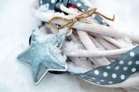 star, ornaments, snow, ice